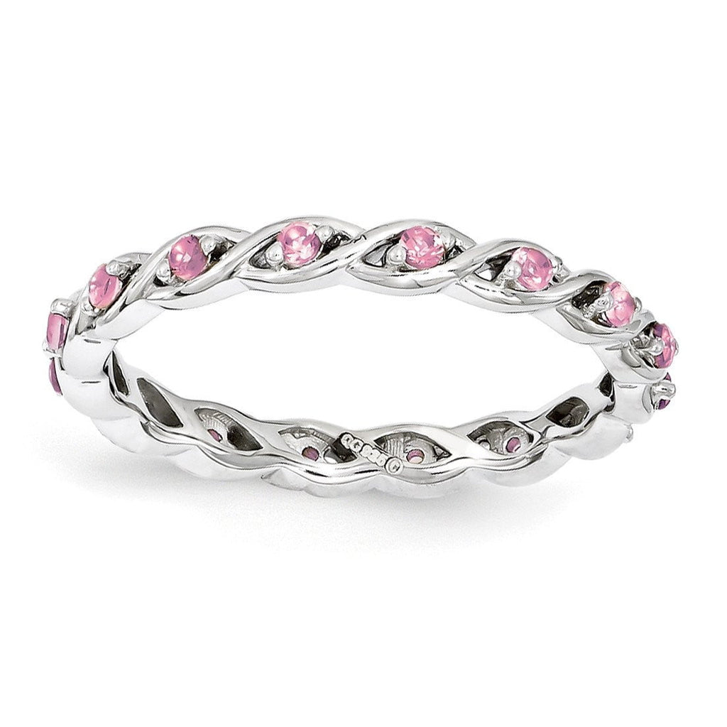 Sterling Silver Stackable Expressions Created Pink Sapphire Ring - shirin-diamonds