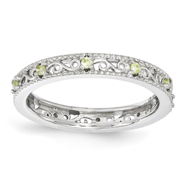 Sterling Silver Stackable Expressions Peridot Ring - shirin-diamonds