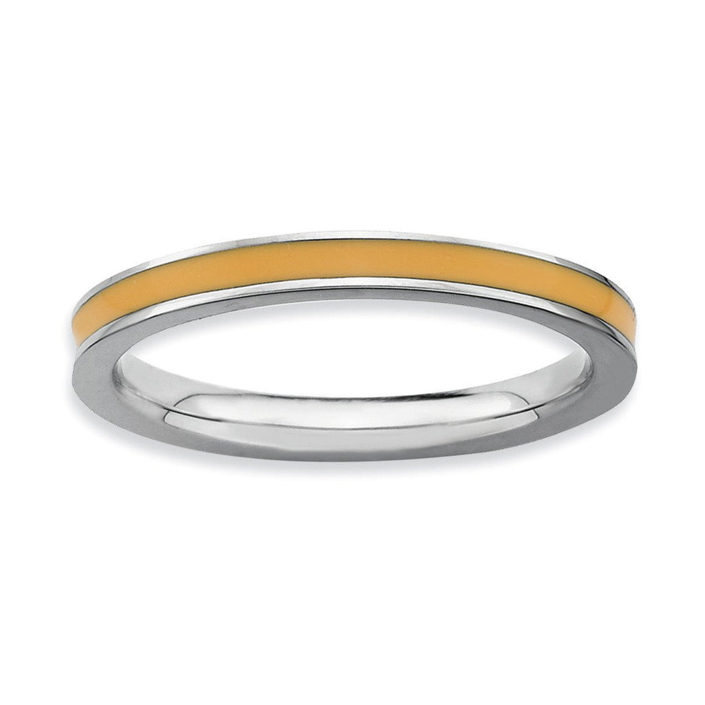 Sterling Silver Stackable Expressions Orange Enameled 2.25mm Ring