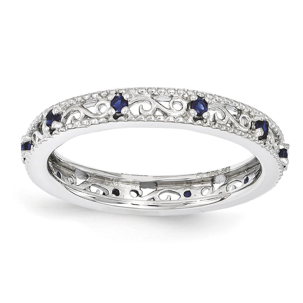 Sterling Silver Stackable Expressions Created Sapphire Ring