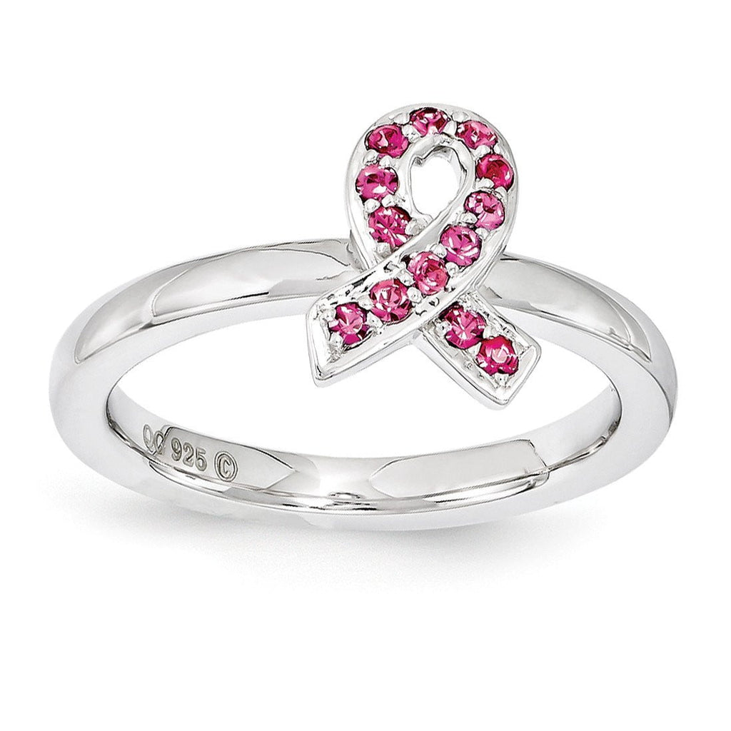 Sterling Silver Stackable Expressions Swarovski Crystal Awareness Ring - shirin-diamonds