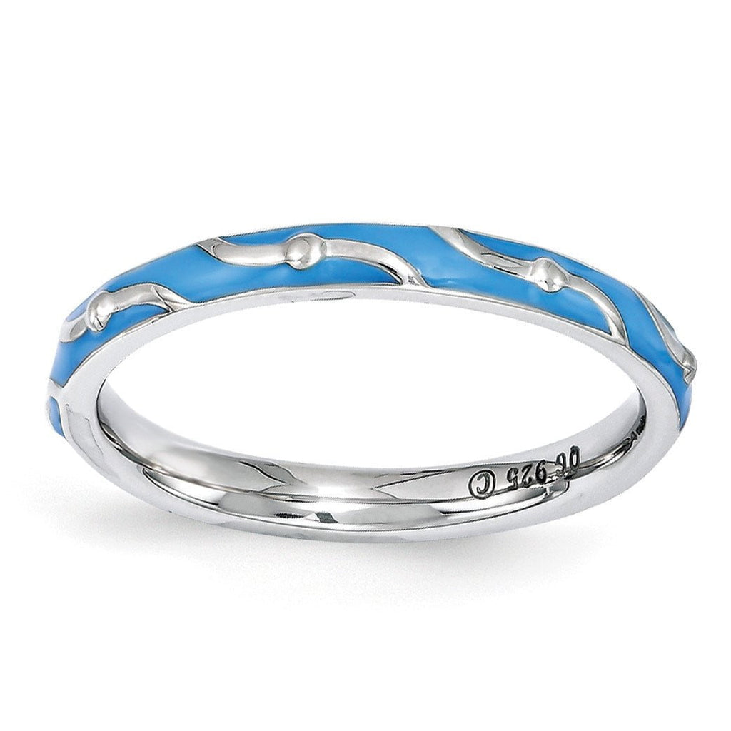 Sterling Silver Stackable Expressions Blue Enamel Ring