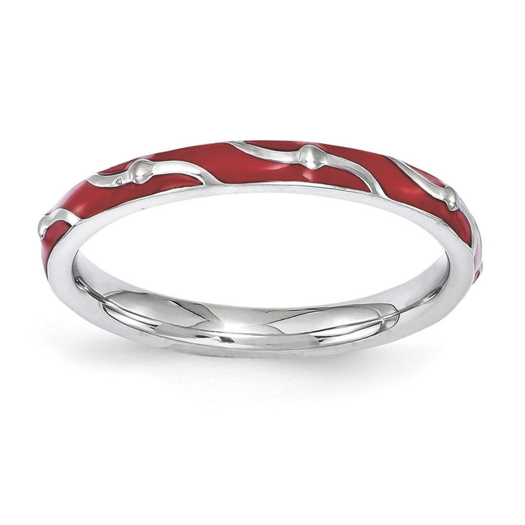 Sterling Silver Stackable Expressions Red Enamel Ring - shirin-diamonds