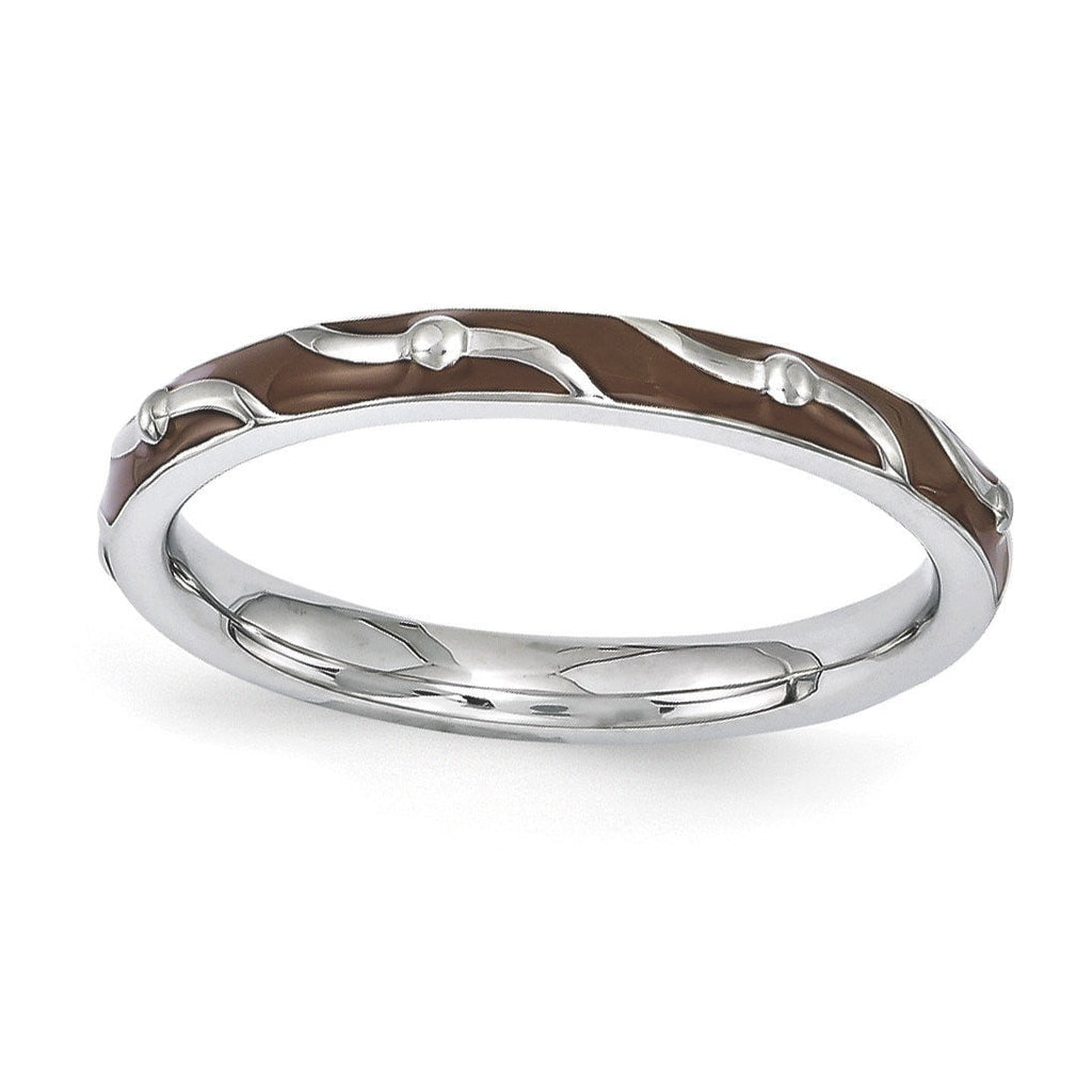 Sterling Silver Stackable Expressions Brown Enamel Ring - shirin-diamonds
