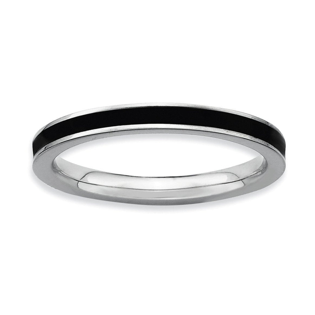 Sterling Silver Stackable Expressions Black Enameled 2.25mm Ring