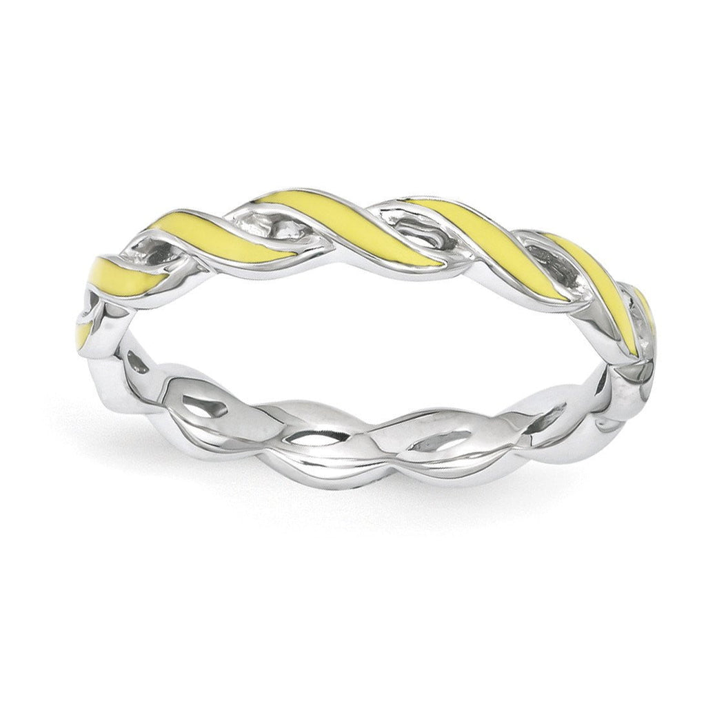 Sterling Silver Stackable Expressions Yellow Enamel Ring - shirin-diamonds
