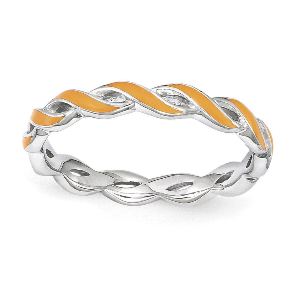 Sterling Silver Stackable Expressions Orange Enamel Ring - shirin-diamonds