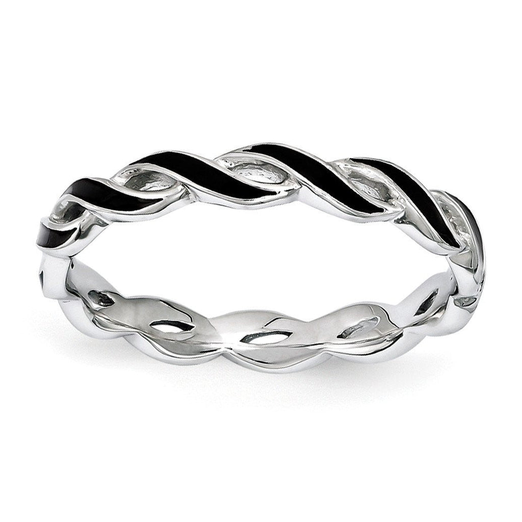 Sterling Silver Stackable Expressions Black Enamel Ring