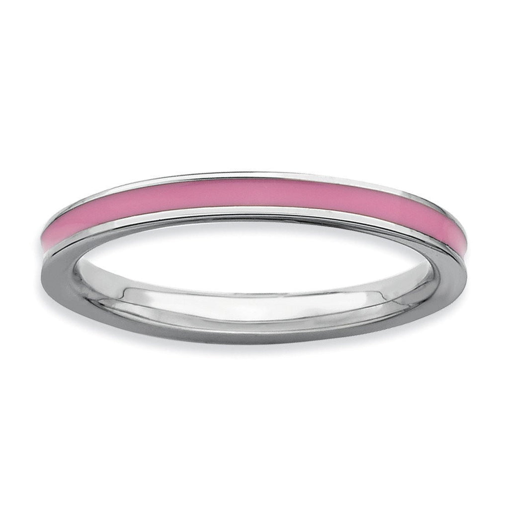 Sterling Silver Stackable Expressions Pink Enameled 2.25mm Ring - shirin-diamonds