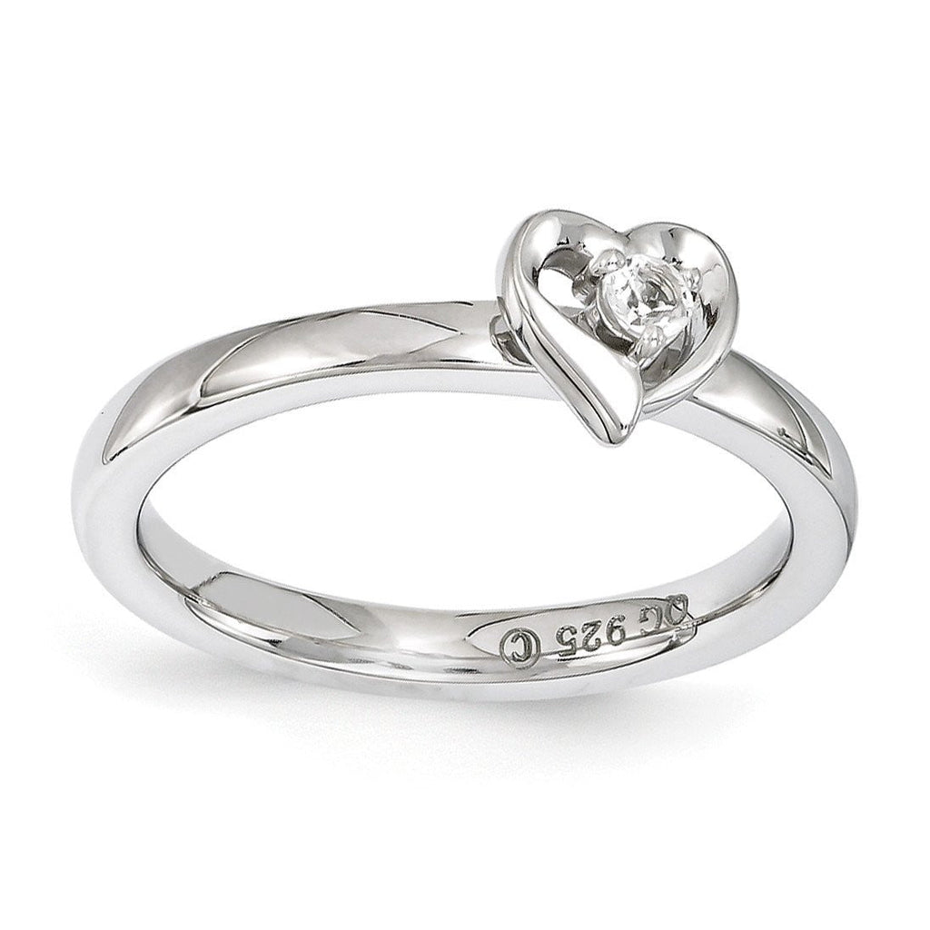 Sterling Silver Stackable Expressions White Topaz Heart Ring