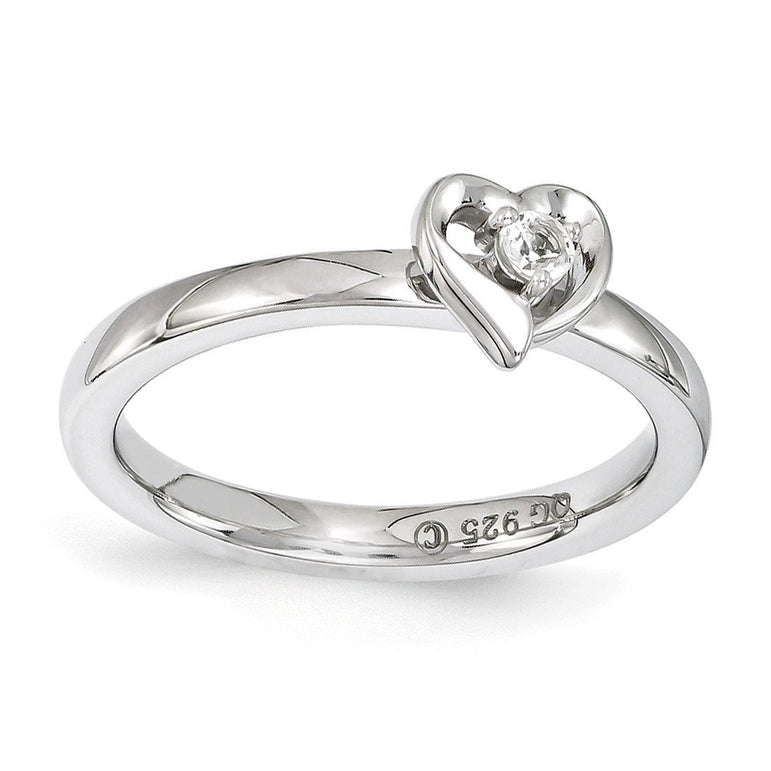 Sterling Silver Stackable Expressions White Topaz Heart Ring - shirin-diamonds