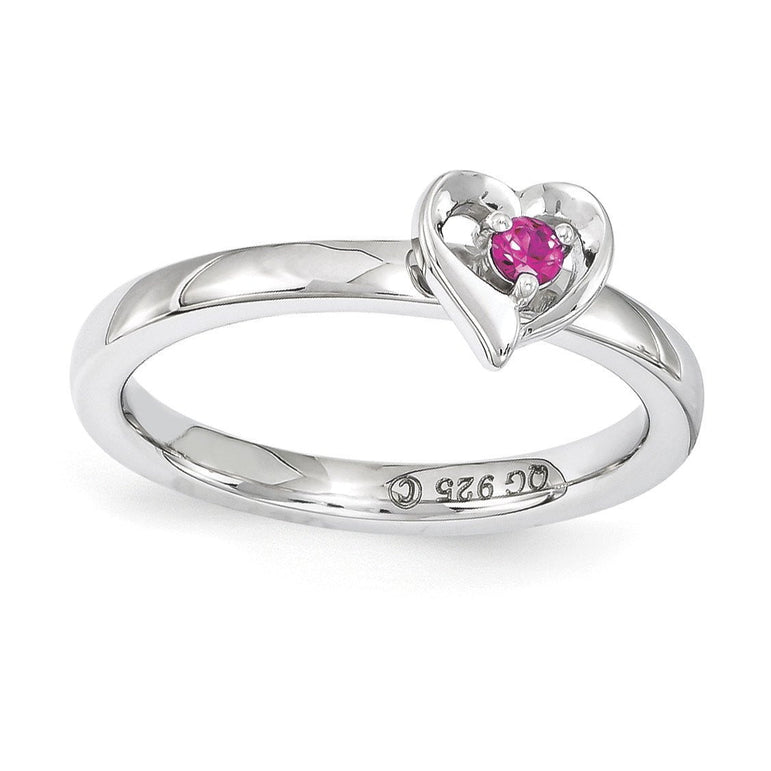 Sterling Silver Stackable Expressions Created Ruby Heart Ring - shirin-diamonds