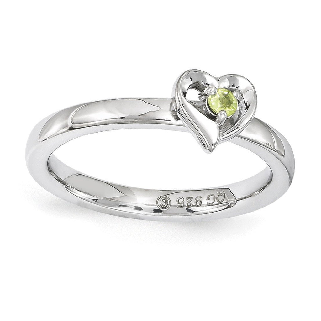 Sterling Silver Stackable Expressions Peridot Heart Ring
