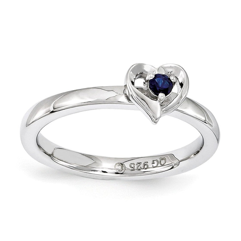 Sterling Silver Stackable Expressions Created Sapphire Heart Ring - shirin-diamonds