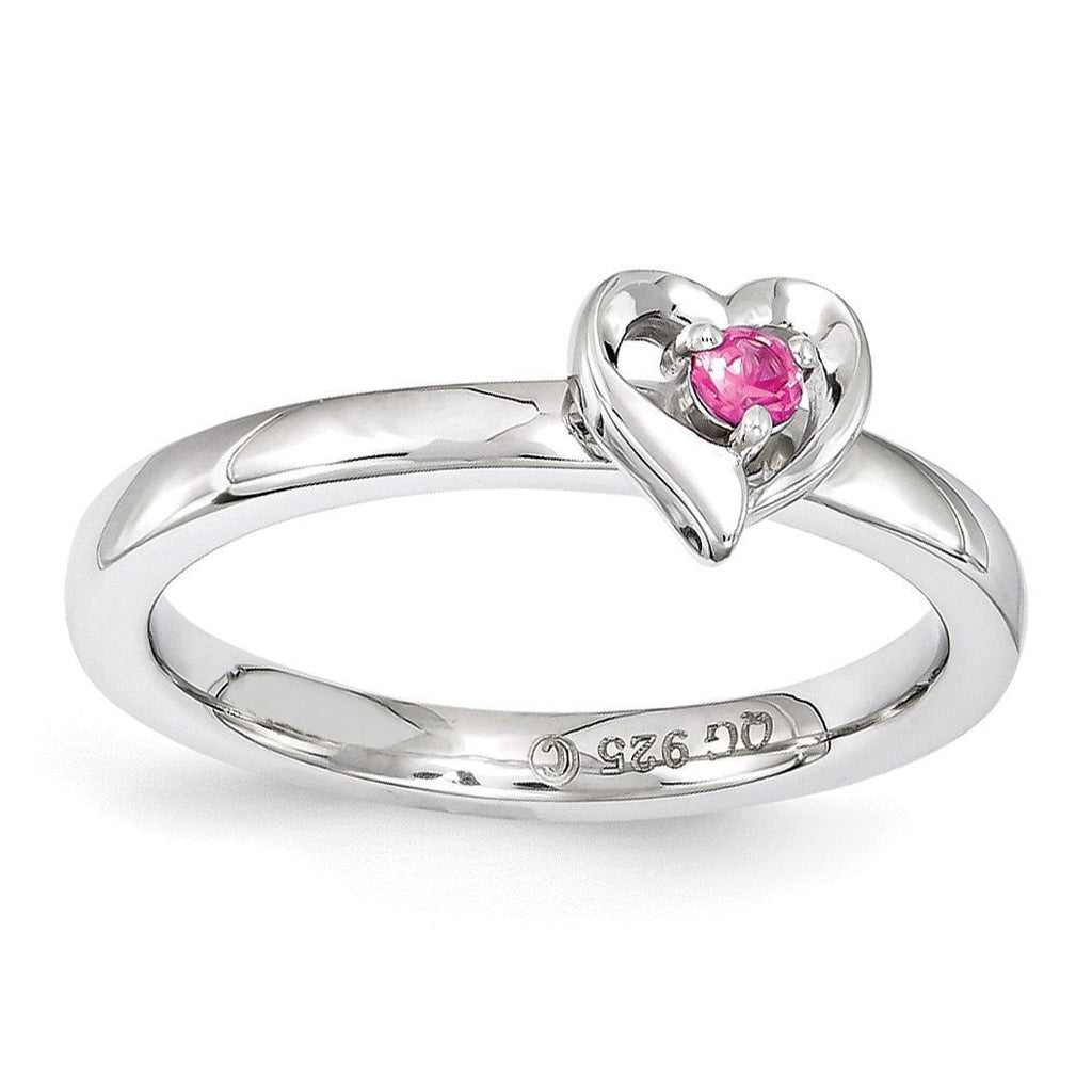 Sterling Silver Stackable Expressions Created Pink Sapphire Heart Ring - shirin-diamonds