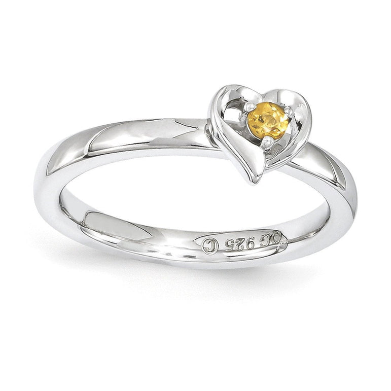 Sterling Silver Stackable Expressions Citrine Heart Ring - shirin-diamonds