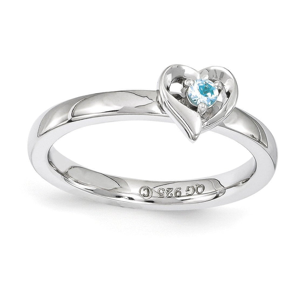 Sterling Silver Stackable Expressions Blue Topaz Heart Ring - shirin-diamonds