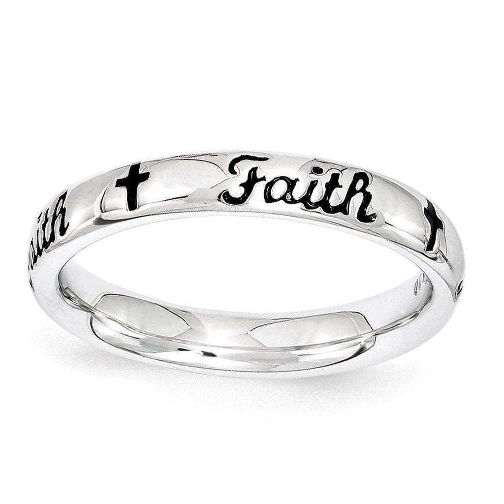 Sterling Silver Stackable Expressions Black Enamel Faith Ring - shirin-diamonds