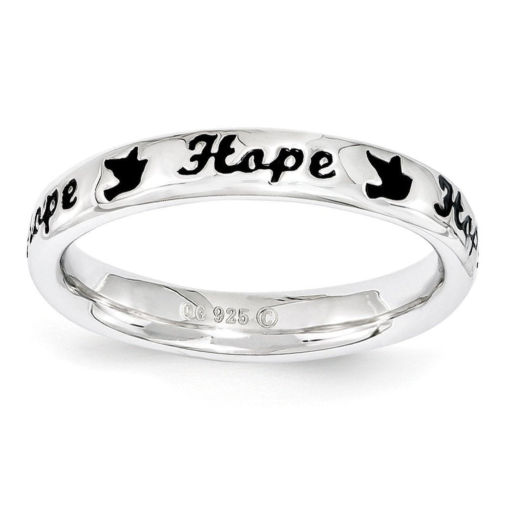 Sterling Silver Stackable Expressions Black Enamel Hope Ring