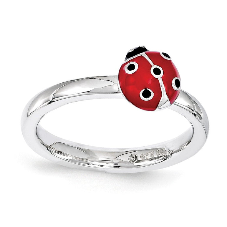 Sterling Silver Stackable Expressions Red & Black Enamel Ring - shirin-diamonds