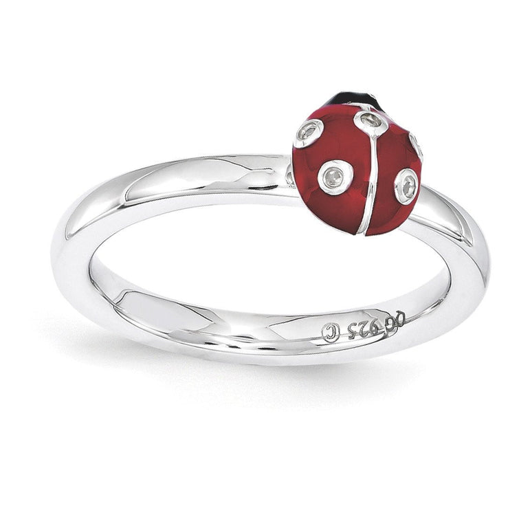 Sterling Silver Stackable Expressions Red & Black Enamel w/Diamond Ring - shirin-diamonds