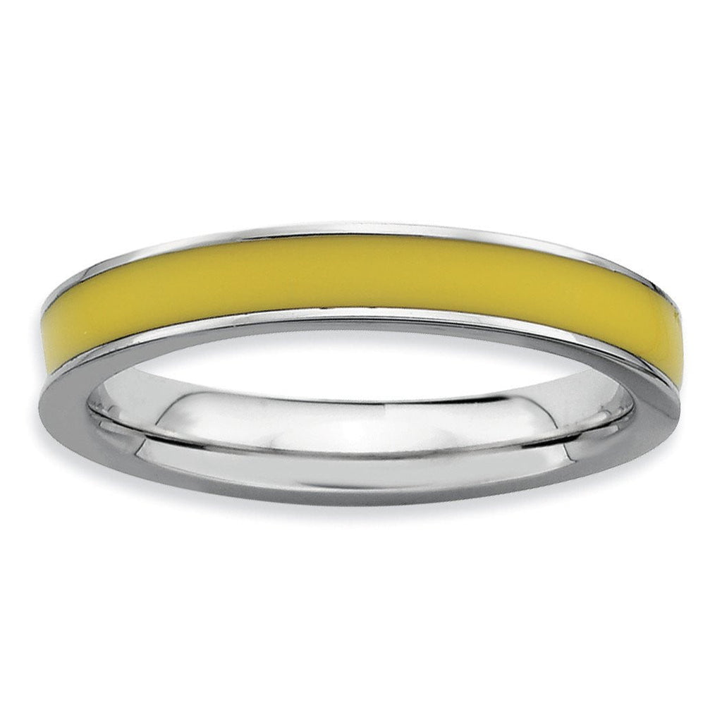 Sterling Silver Stackable Expressions Yellow Enameled 3.25mm Ring - shirin-diamonds