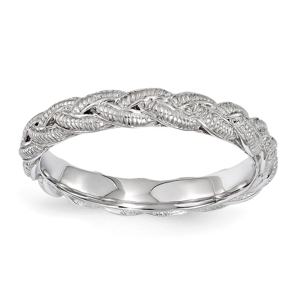 Sterling Silver Stackable Expressions Rhodium-plated Twist Ring - shirin-diamonds