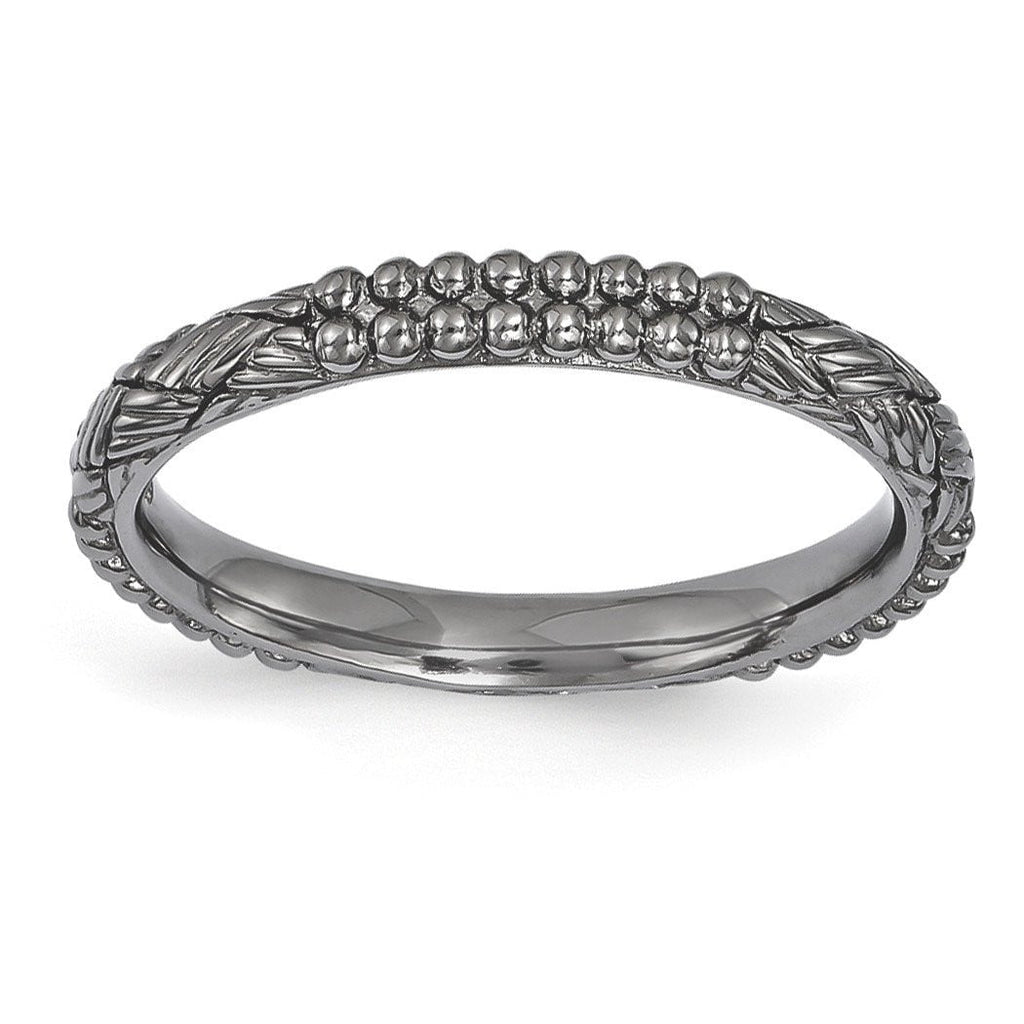 Sterling Silver Stackable Expressions Ruthenium-plated Patterned Ring
