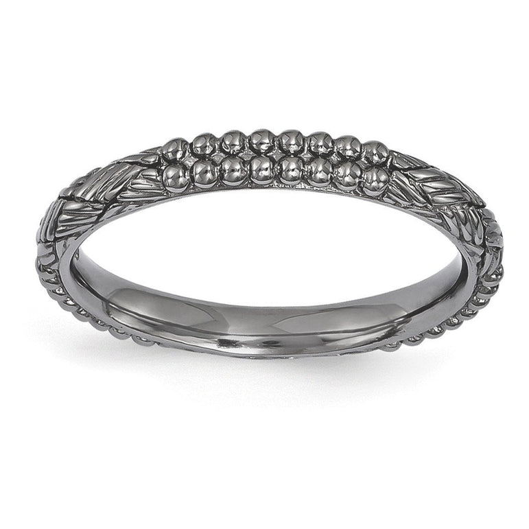 Sterling Silver Stackable Expressions Ruthenium-plated Patterned Ring - shirin-diamonds