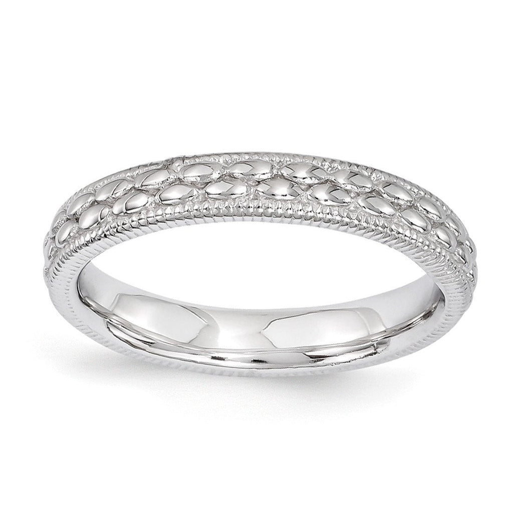 Sterling Silver Stackable Expressions Rhodium-plated Patterned Ring