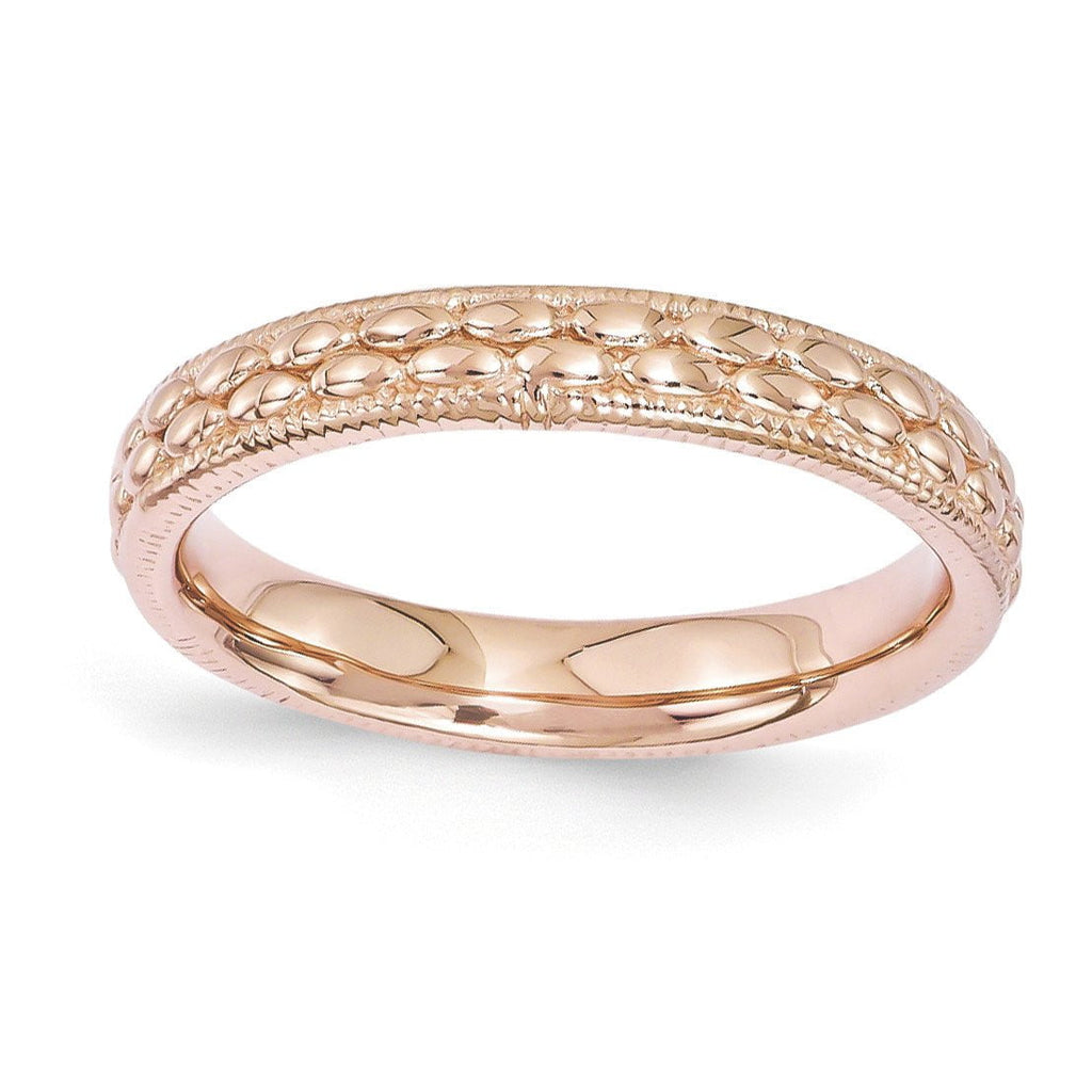 Sterling Silver Stackable Expressions Rose Gold-plated Patterned Ring
