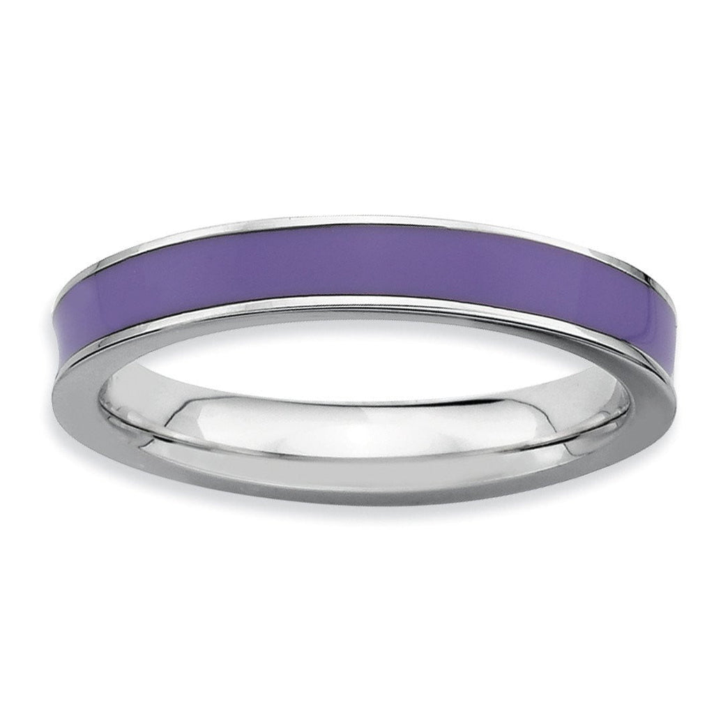 Sterling Silver Stackable Expressions Purple Enameled 3.25mm Ring - shirin-diamonds