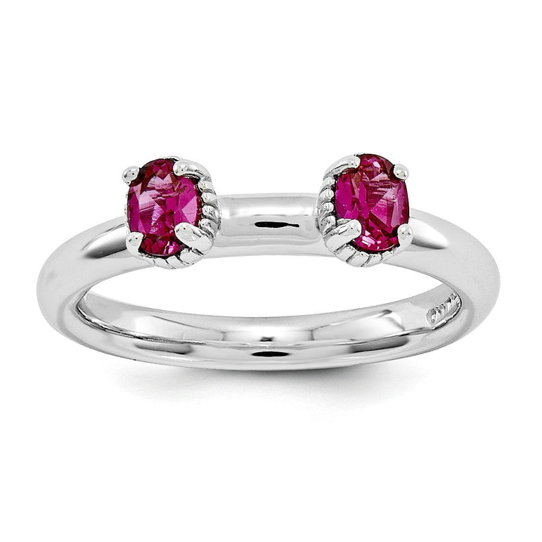 Sterling Silver Stackable Expressions Created Ruby Two Stone Ring - shirin-diamonds