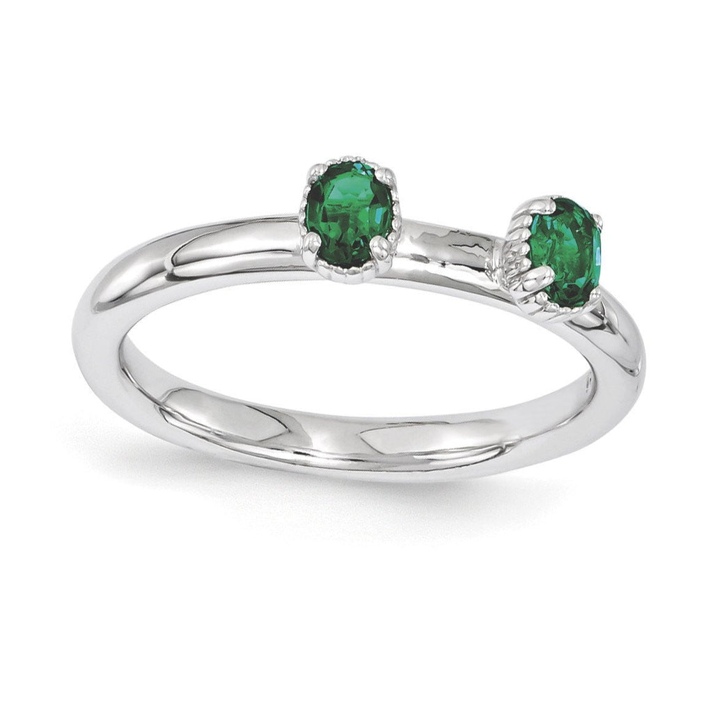 Sterling Silver Stackable Expressions Created Emerald Two Stone Ring
