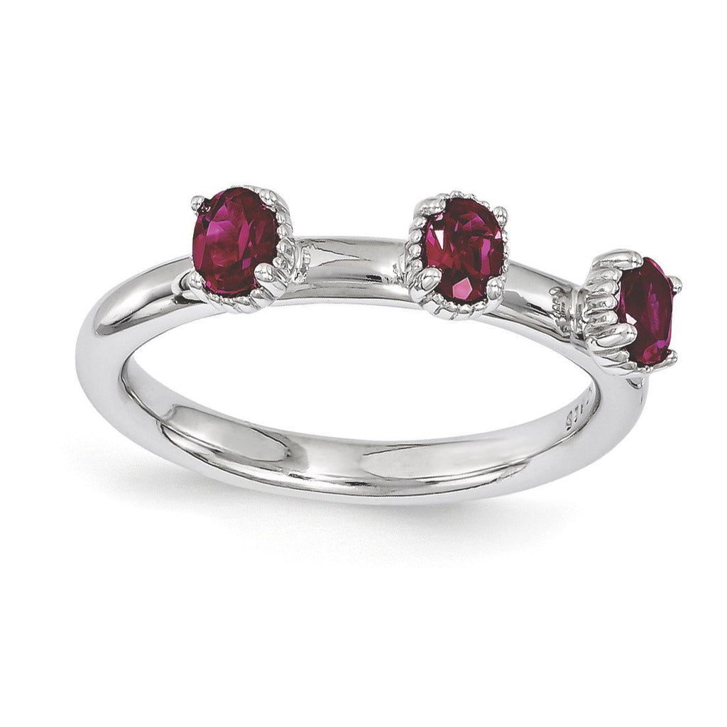 Sterling Silver Stackable Expressions Created Ruby Three Stone Ring