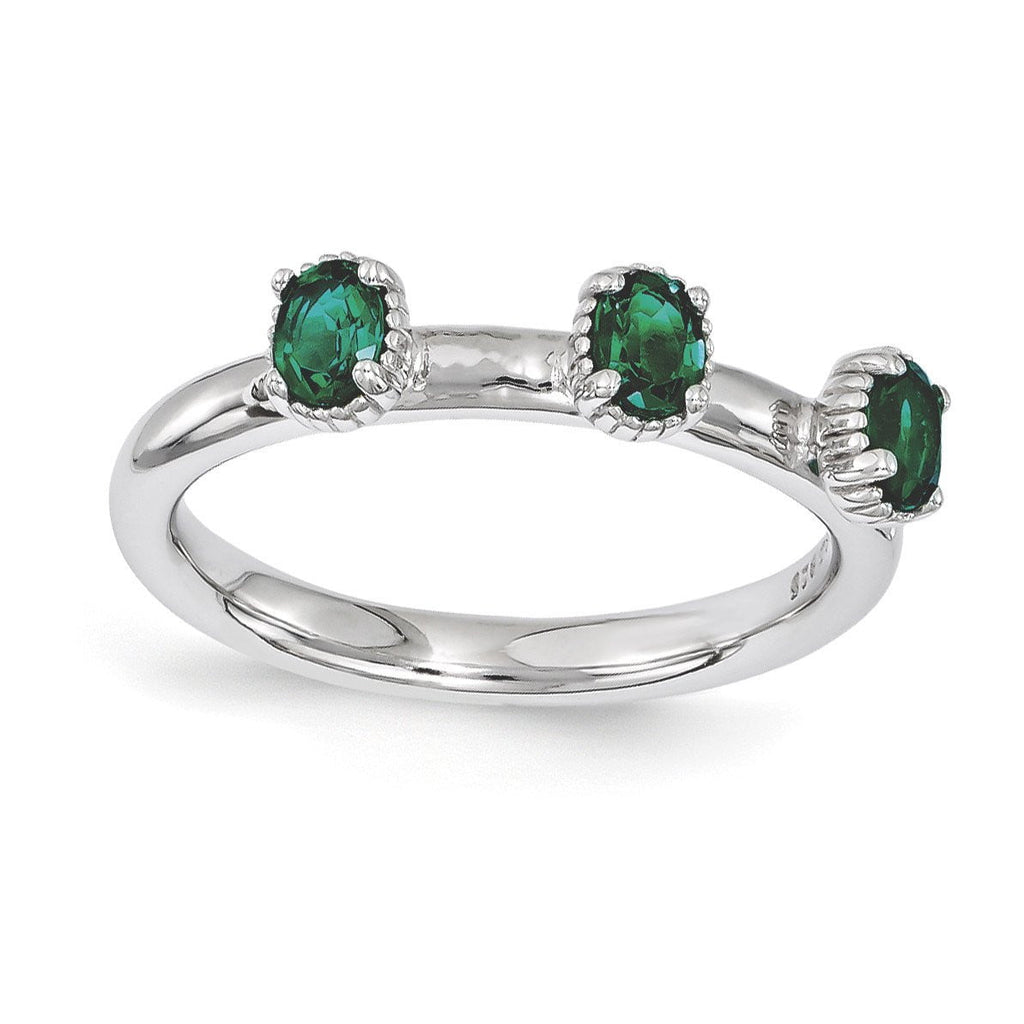 Sterling Silver Stackable Expressions Created Emerald Three Stone Ring - shirin-diamonds