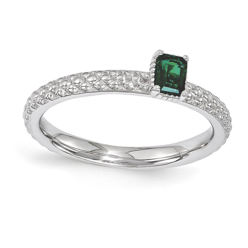 Sterling Silver Stackable Expressions Created Emerald Single Stone Ring