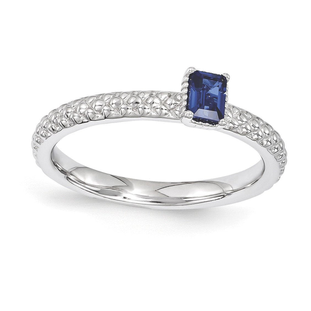 Sterling Silver Stackable Expressions Created Sapphire Single Stone Ring