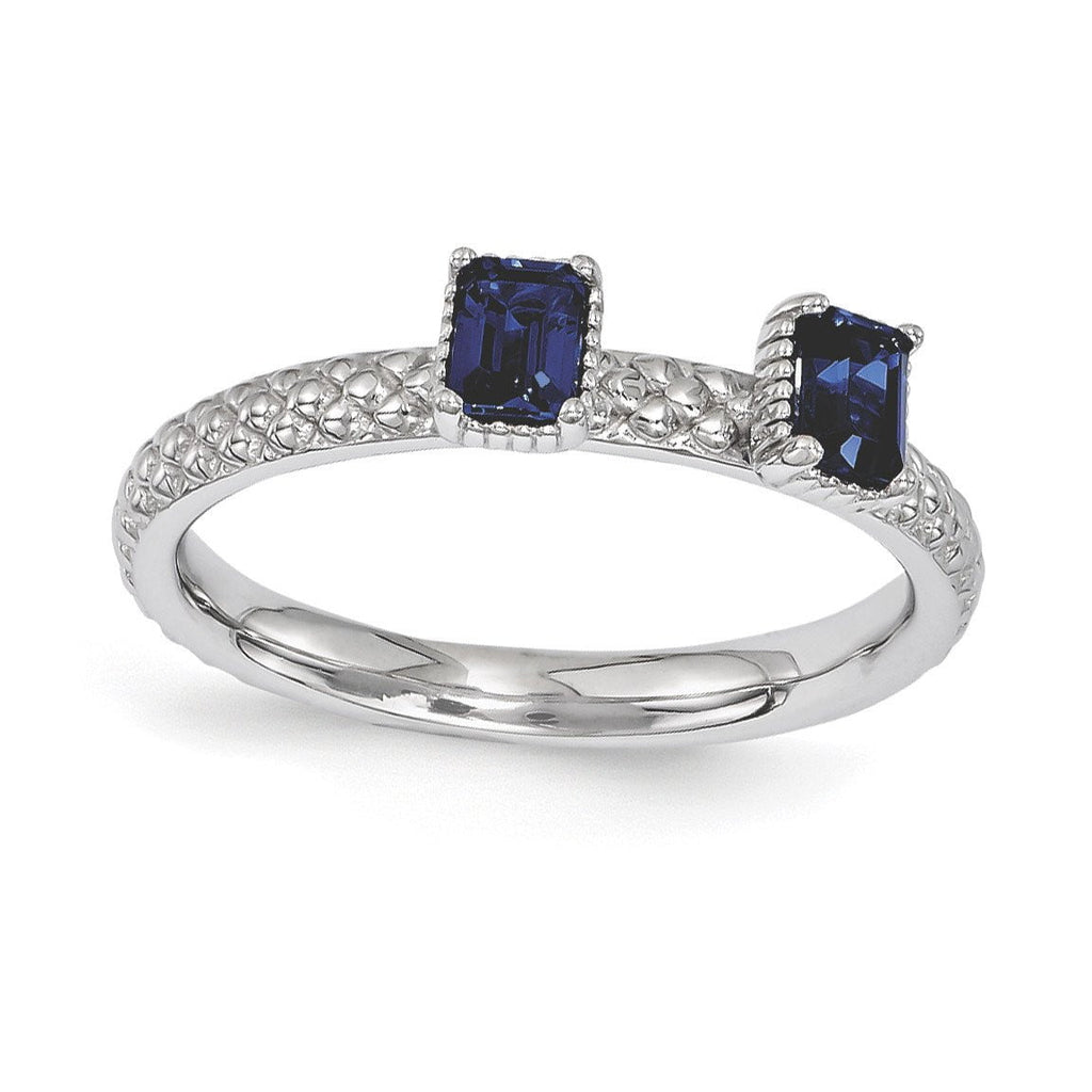 Sterling Silver Stackable Expressions Created Sapphire Two Stone Ring
