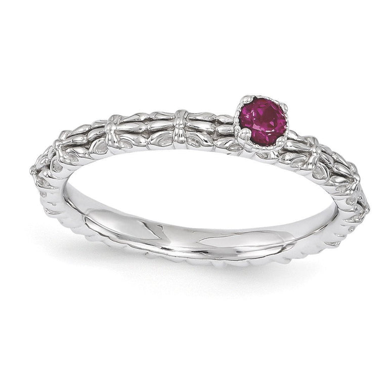 Sterling Silver Stackable Expressions Created Ruby Single Stone Ring - shirin-diamonds
