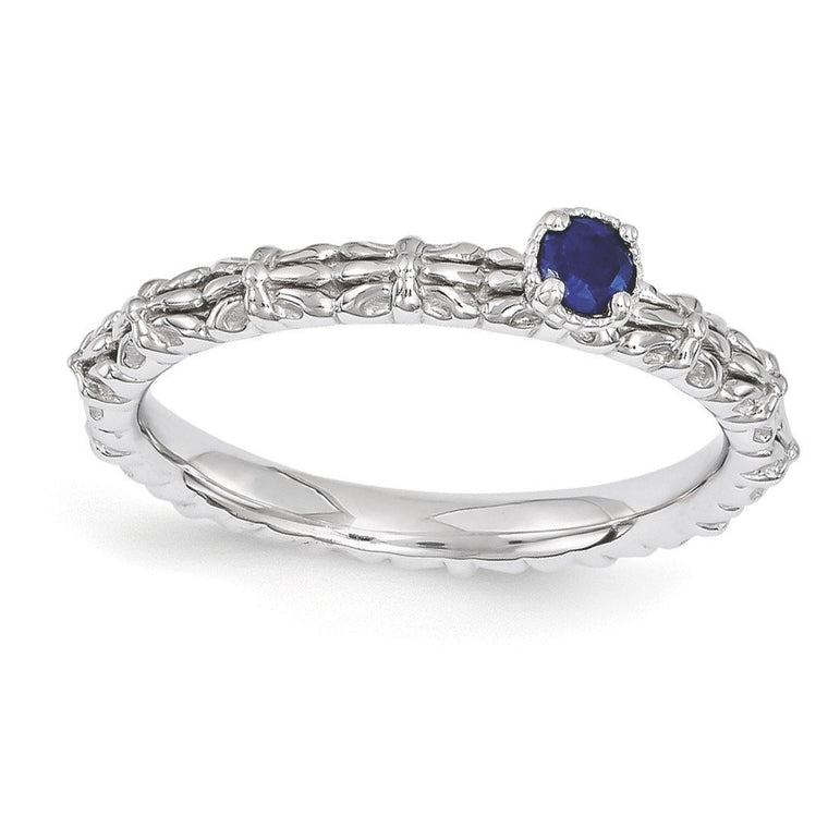 Sterling Silver Stackable Expressions Created Sapphire Single Stone Ring - shirin-diamonds