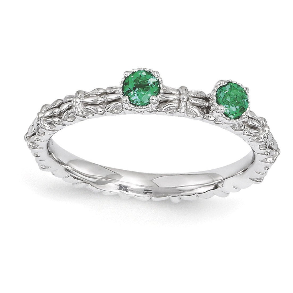 Sterling Silver Stackable Expressions Created Emerald Two Stone Ring - shirin-diamonds