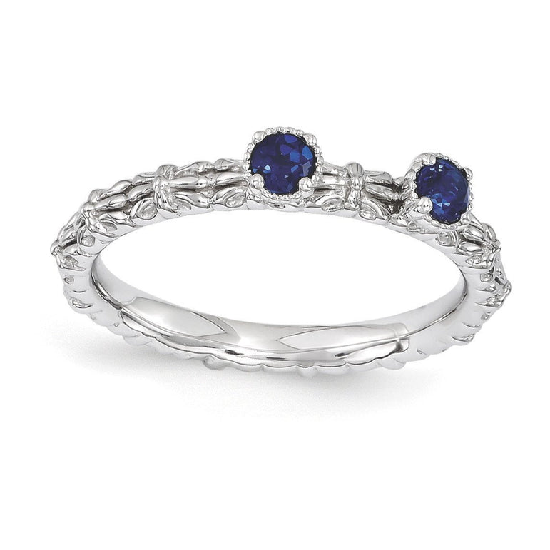 Sterling Silver Stackable Expressions Created Sapphire Two Stone Ring - shirin-diamonds