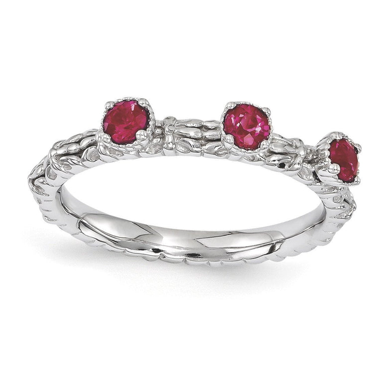 Sterling Silver Stackable Expressions Created Ruby Three Stone Ring - shirin-diamonds