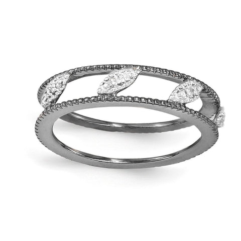 Sterling Silver Stackable Expressions Ruthenium-plated Diamond Jacket Ring - shirin-diamonds