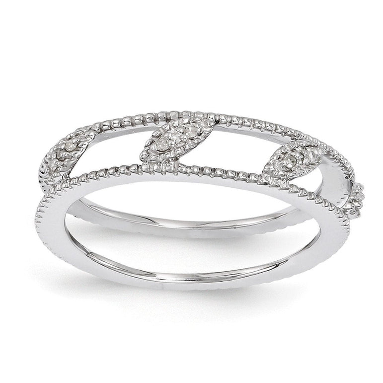 Sterling Silver Stackable Expressions Rhodium-plated Diamond Jacket Ring - shirin-diamonds