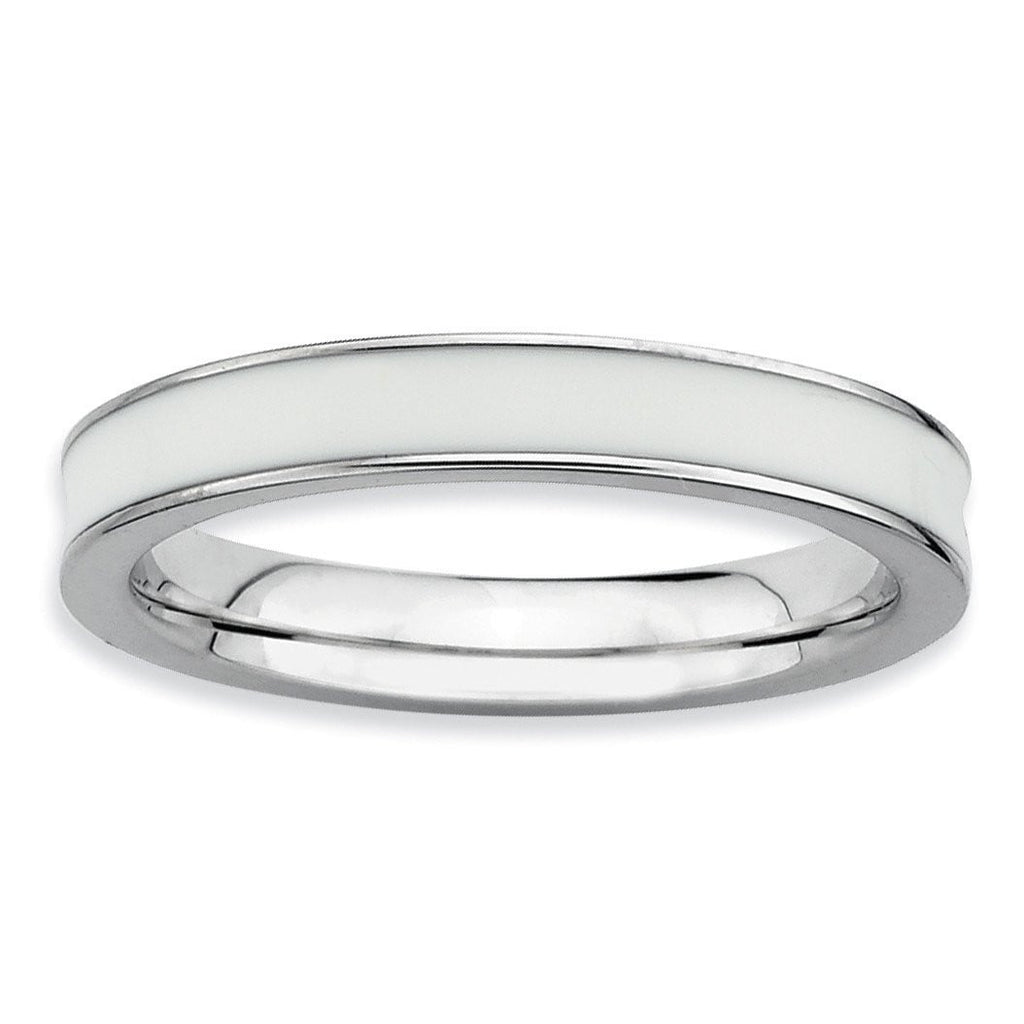 Sterling Silver Stackable Expressions White Enameled 3.25mm Ring