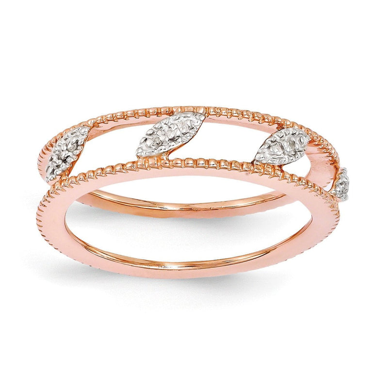 Sterling Silver Stackable Expressions Rose Gold-plated Diamond Jacket Ring - shirin-diamonds