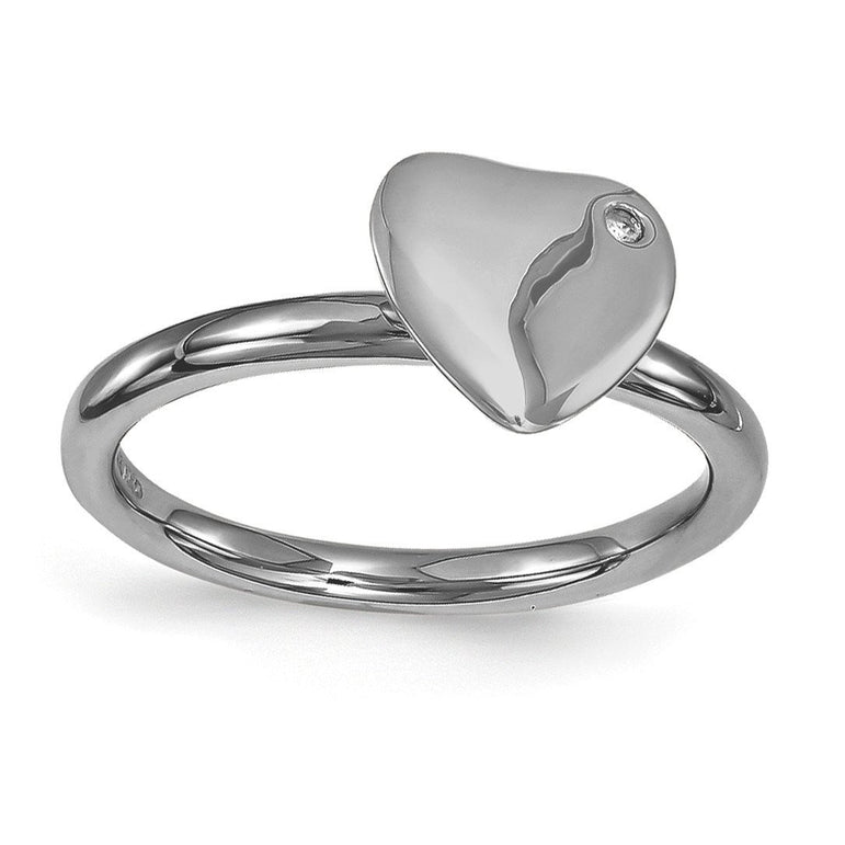 Sterling Silver Stackable Expressions Ruthenium-plated Heart Diamond Ring - shirin-diamonds