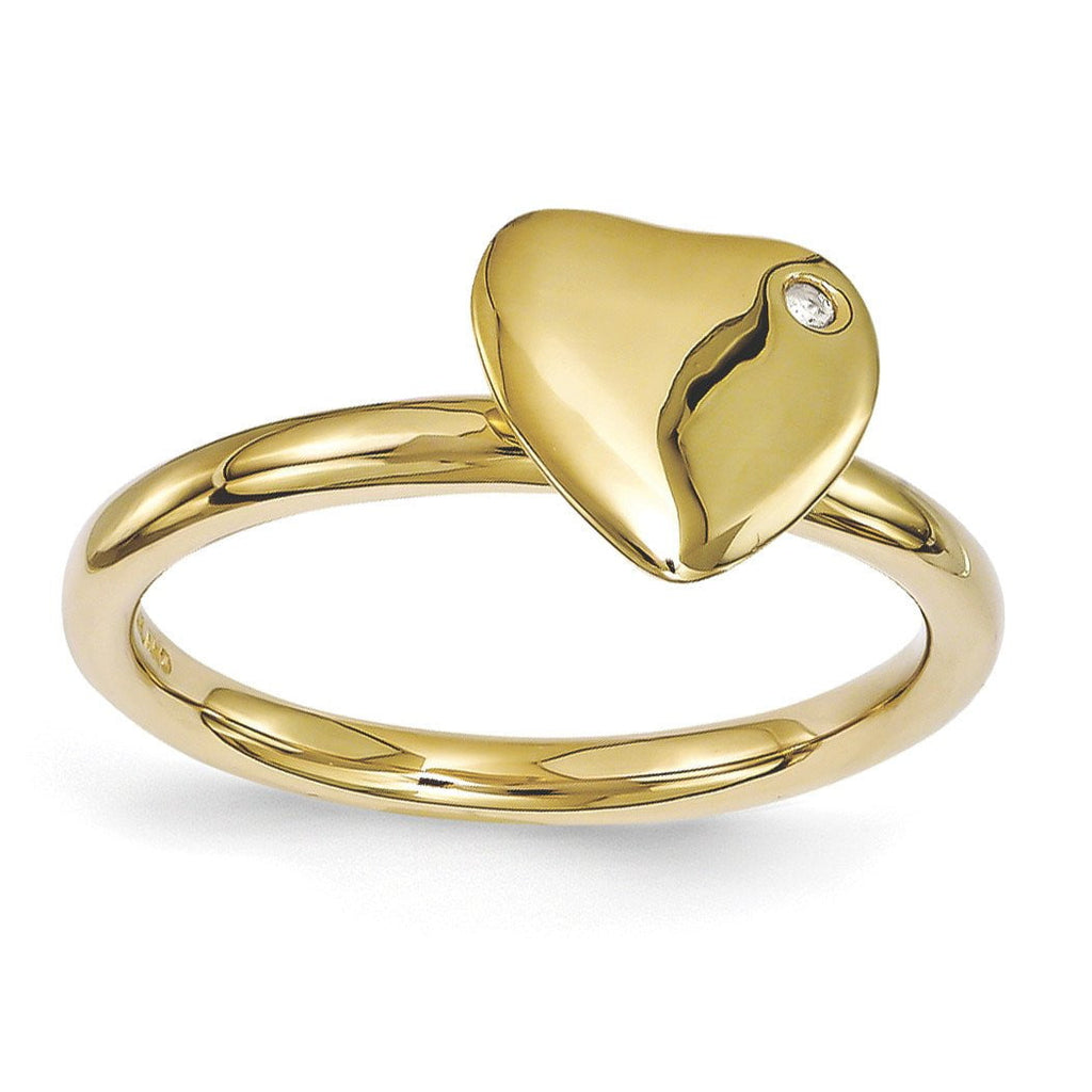 Sterling Silver Stackable Expressions Gold-plated Heart Diamond Ring